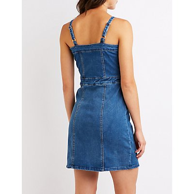 Button Up Denim Bodycon Dress