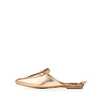 Qupid Metallic Loafer Mules