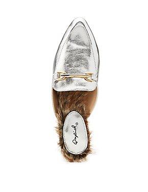 Qupid Metallic Loafer Mules