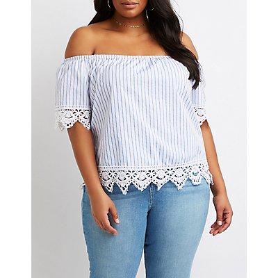 Plus Size Crochet-Trimmed Striped Off-The-Shoulder Top