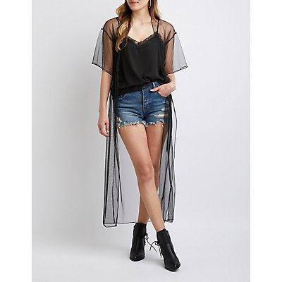 Mesh Tie Front Kimono by Charlotte Russe