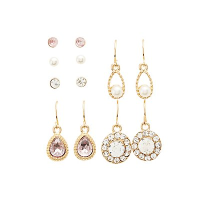 Crystal Stud & Drop Earrings - 6 Pack