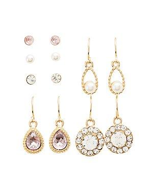 Crystal Stud & Drop Earrings - 6 Pack