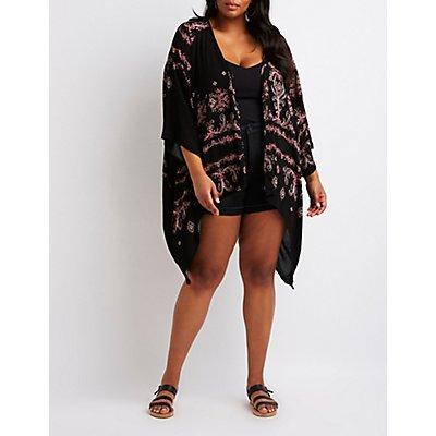 Plus Size Crochet-Inset Kimono