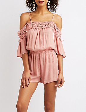 Floral Crochet Off-The-Shoulder Romper