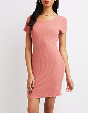 Ribbed Twist-Back Bodycon Dress