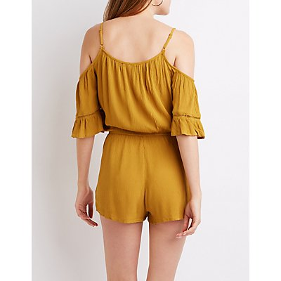Cold Shoulder Tie Front Romper