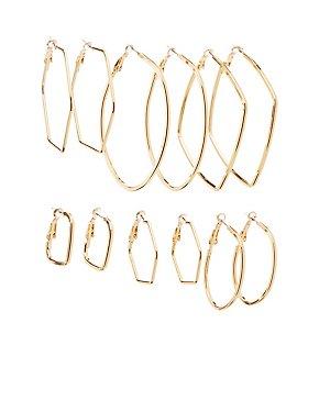Geometric Hoop Earrings - 6 Pack