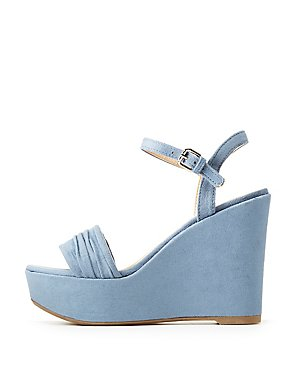 Faux Suede Ankle Strap Wedge Sandals