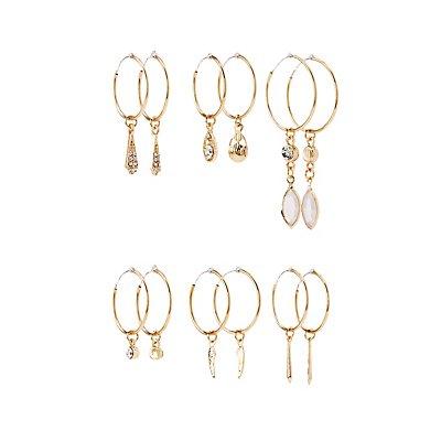 Embellished Cascading Hoop Earrings - 6 Pack