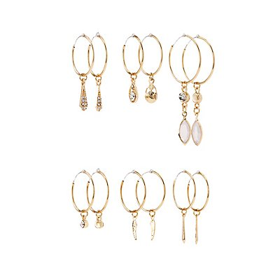 Embellished Cascading Hoop Earrings - 6 Pack at Charlotte Russe in Cypress, TX | Tuggl