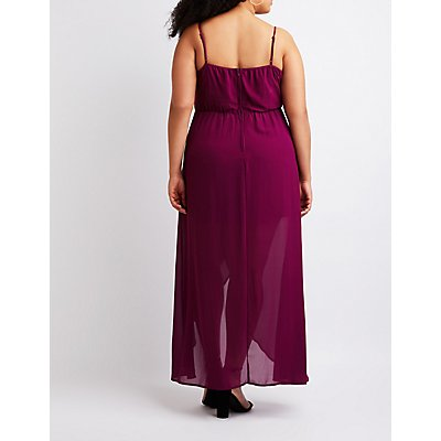 Plus Size Asymmetrical Cut Out Maxi Dress