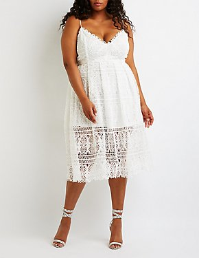 Plus Size Crochet V-Neck Midi Dress