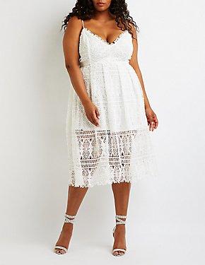 Plus Size Crochet A Line Midi Dress