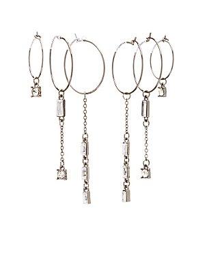 Crystal Drop Hoop Earrings - 3 Pack