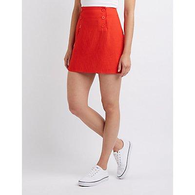 Button Front A Line Skirt