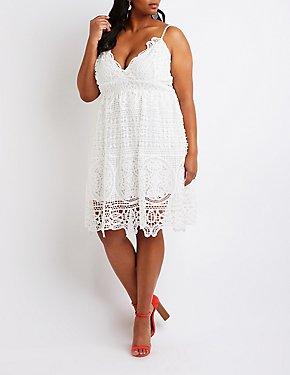 Plus Size Crochet Skater Dress