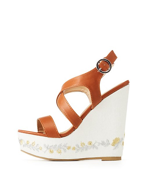 embroidered wedged sandals Buy Cheap Low Price Fee Shipping Under 70 Dollars Cheap Sale Outlet Store O5XNsuw