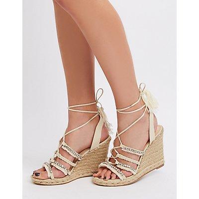 Embellished Espadrille Wedge Sandals