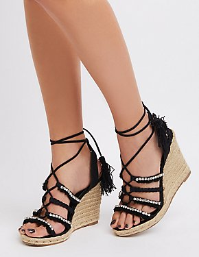 Embellished Espadrille Wedge Sandals