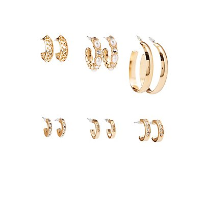 Faux Pearl & Crystal Hoop Earrings - 6 Pack