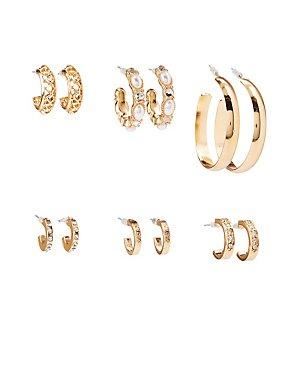 Faux Pearl & Crystal Hoop Earrings - 6 Pack