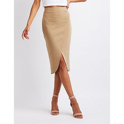 Wrapped Midi Bodycon Skirt