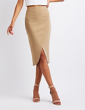 Wrapped Midi Bodycon Skirt