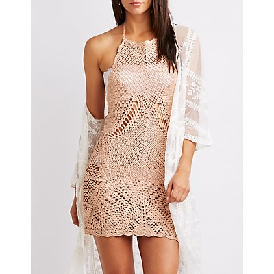 Macrame Bib Neck Bodycon Dress