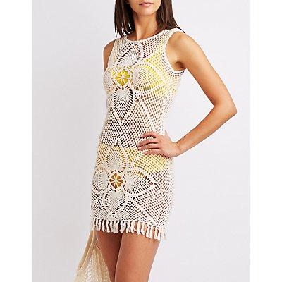 Crochet Fringe-Trim Bodycon Dress