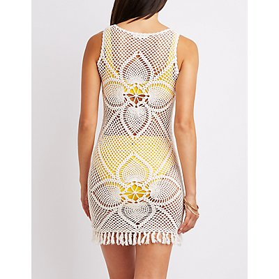 Crochet Fringe-Trim Bodycon Dress