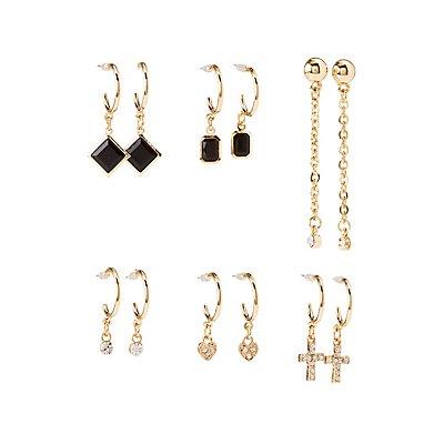 Embellished Cascading Hoop & Drop Earrings - 6 Pack