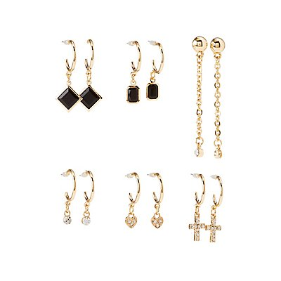 Embellished Cascading Hoop & Drop Earrings - 6 Pack at Charlotte Russe in Cypress, TX | Tuggl