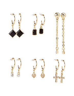 Embellished Cascading Hoop & Drop Earrings - 6 Pack