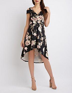 Floral Cold Shoulder High-Low Dress