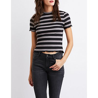 Striped Fitted Crop Tee