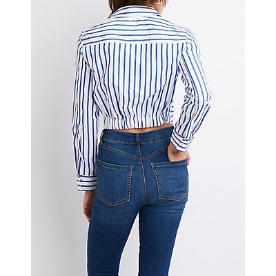 Striped Knotted Button-Up