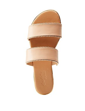 Metal Trim Slide Sandals