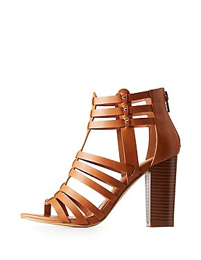 Studded Caged Block Heel Sandals
