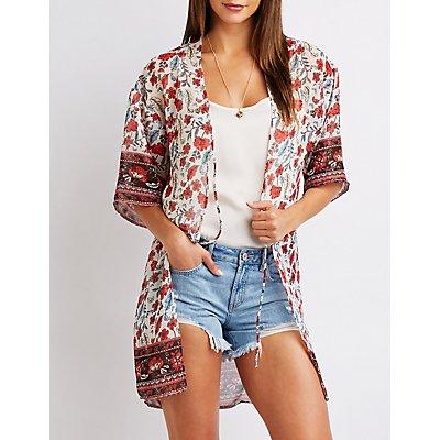Floral Tie Front Kimono Top