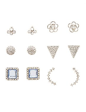 Embellished Stud Earrings - 6 Pack