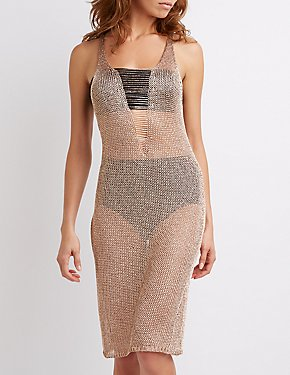 Metallic Open Knit Dress