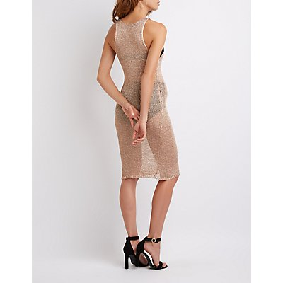 Metallic Open Knit Dress