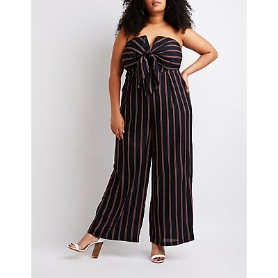 Plus Size Striped Strapless Jumpsuit