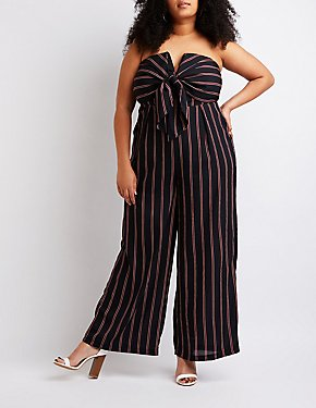 Plus Size Striped Strapless Jumpsuit
