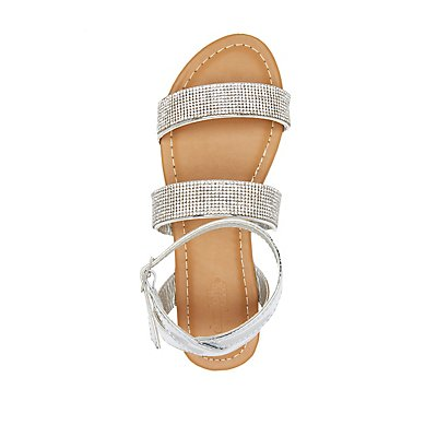 Rhinestone Ankle Wrap Flat Sandals