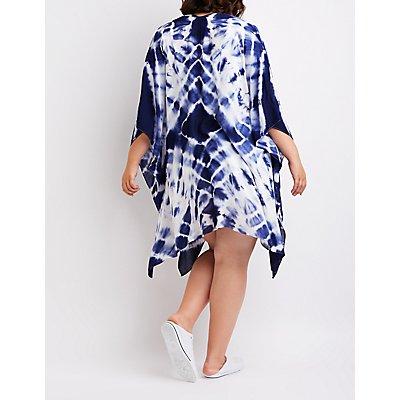 Plus Size Tie Dye Kimono Duster