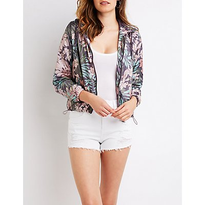 Floral Hooded Bomber Jacket