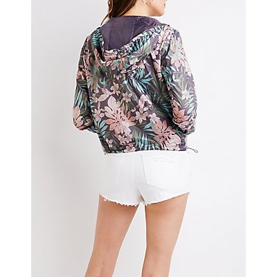 Floral Hooded Bomber Jacket