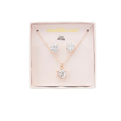 Crystal Stud Earrings & Pendant Necklace